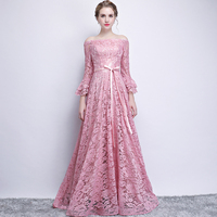 Doparty pink lace long imported party muslim evening dress formal evening gowns with sleeves mother of the bride dresses XS3