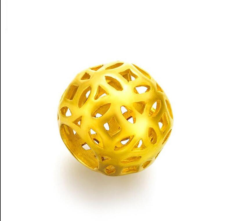 Pure 999 24k Yellow Gold Pendant / 3D New Design Hollow Bead Pendant 1g pure 999 yellow gold lucky 3d yuanbao chook bead pendant 1 17g