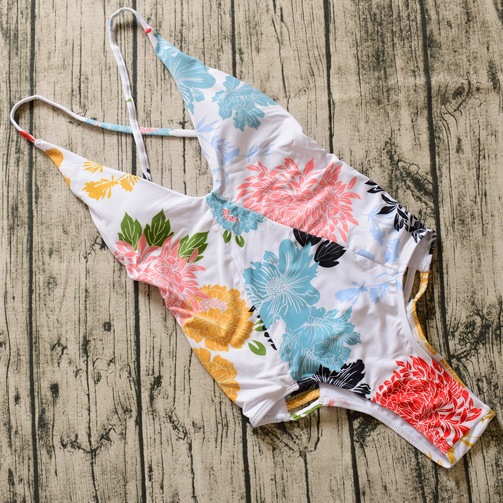 2017 New Backless Swimwear Women One Piece Swimsuit High Cut Swimwear Sexy Print Bathing Suit Beach Suits new sexy high cut backless bandage one piece swimsuit with skirt high neck patchwork swimwear striped blue beach bathing suits
