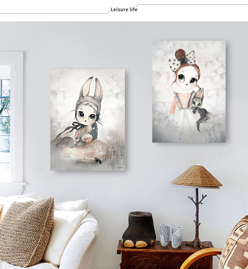 HTB1qUCPadjvK1RjSspiq6AEqXXaa Home Decor Nordic Canvas Painting Wall Art Rabbit Girl Animal Abstract Watercolor Print Kid Bedroom Living Room Poster Picture