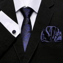 New Brand Paisley Tie Set 100% Silk Jacquard Mens Necktie Gravata Hanky Cufflinks for Wedding Party