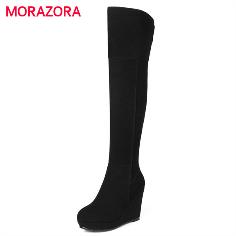 MORAZORA 2018 new fashion autumn winter over the knee women boots sexy super high heel round toe boots short plush zipper boots стоимость