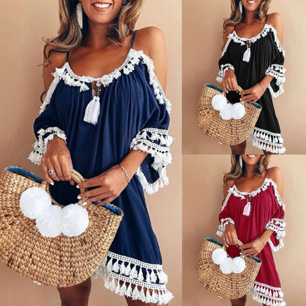 ALI shop ...  ... 32971047007 ... 2 ... 2019 Women casual Dress Women Off Shoulder sexy Dress Tassel Short Cocktail Party Beach Dresses Sling Sundress Vestidos #YL ...