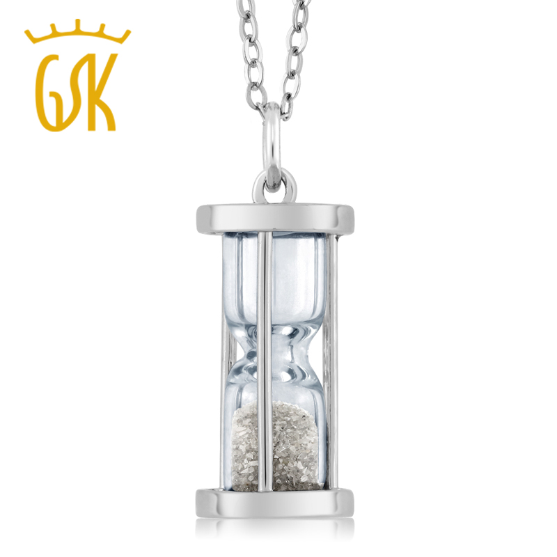 0.75 Carat Genuine Ruby Dust Time Hourglass Pendant .925 Sterling Silver