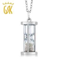 GemStoneKing Solide 925 Sterling Silber Edelstein Halskette 0,50 Ct Natürlicher Diamant Sand Staub Zeitnehmer Sanduhr Anhänger