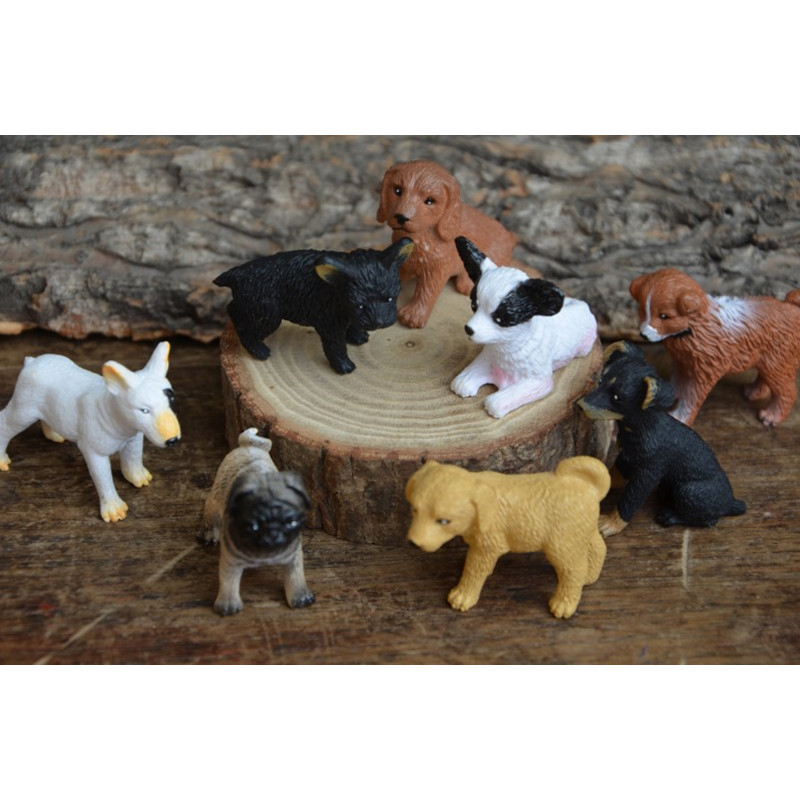 Free shipping Cute Dog Pet Mini Figures 1pc PVC toy Bull Terrier Pug Corgi Labrador cake car party office home decoration gifts