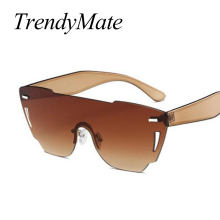 e02cf90d894 Newest Fashion Women Sunglasses Cat Eye Shades Luxury Brand Designer Sun  Glasses Integrated Eyewear Candy Color