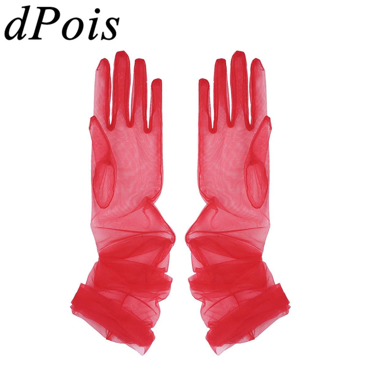 Adult Women Transparent See Through Sheer Tulle Full Finger Long Gloves Mittens Holiday Fancy Photography Costume Accessories