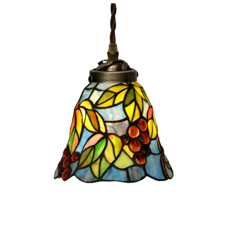 Japanese Rustic Rural Stained Glass Plant Leaf Single LED Hanging Pendant Lamp Light Balcony Corridor Passageway Stairs Lighting plug in electricity style corridor fire emergency light led safety export indicator sign vacuation passageway marker light