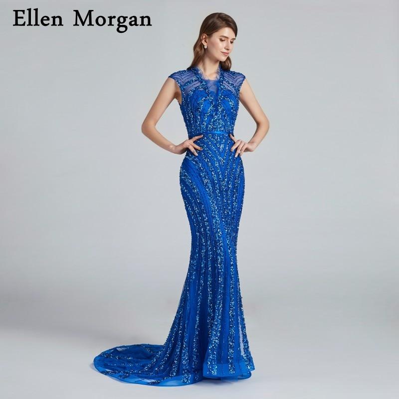 Blue Mermaid Evening Dresses 2018 Robe De Soiree Major Beading V ...