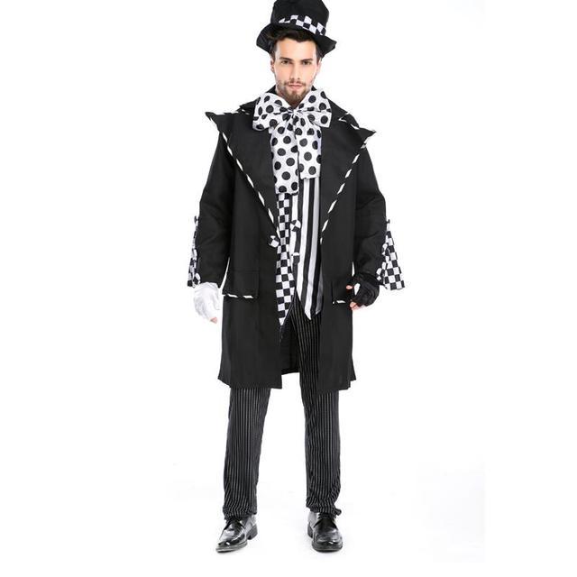 Nuovo Design Uomini Mago Nero Halloween Costumi di Carnevale Per Adulti  Chaplin Scuro Mad Hatter Costume fe1477f791fe
