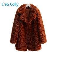 Lisa Colly New Women Cotton Coat Lamb Faux Fur Jacket Coat Women long Furry Furs Coat Overcoat Winter Warm Fox Fur Outerwear
