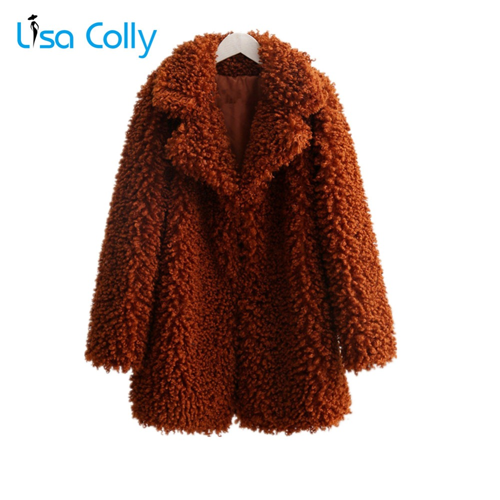 Lisa Colly nouveau femmes coton manteau agneau fausse fourrure veste manteau femmes long fourrure manteau pardessus hiver chaud fourrure de renard vêtements de dessus