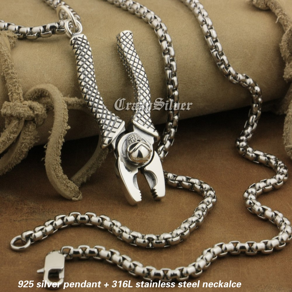 LINSION 925 Sterling Silver Wire Pliers Pendant Mens Biker Rock Punk Skull Wrench Pendant 8A032 Stainless Steel Necklace 24 100% 925 silver skull hand pendant vintage sterling rock necklace pendant hiphop man pendant