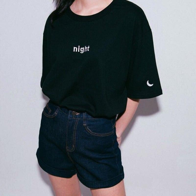 Nyári Harajuku Stílusú Női Levél Nyomtatott PólókHímzett női póló rövid ujjú ing