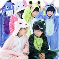 New 2017 Baby Boys Girls Pajamas Autumn Winter Children Flannel Animal Funny Animal Stitch Panda Pajamas