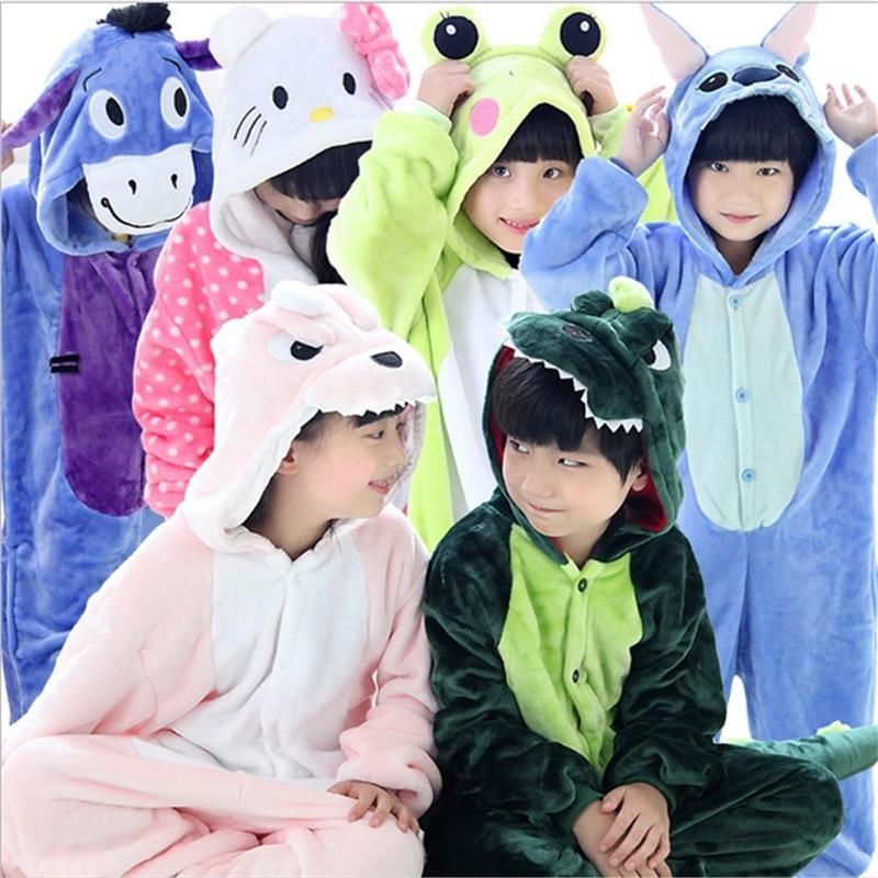 New 2017 Baby Boys Girls Pajamas Autumn Winter Children Flannel Animal funny animal Stitch panda Pajamas Kid Onesie Sleepwear