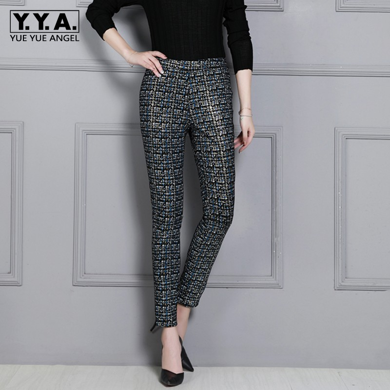Stretch High Waist Real Leather Pants Women Luxury Printed Skinny Slim Sheepskin Pencil Pants Plus Size Office Leather Trousers