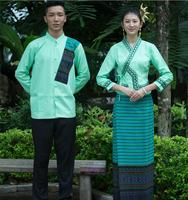 Thailand Dai princess Robe dress men's and women's long sleeved Hotel restaurant work clothes suits waiter Dai ethnic Outfit