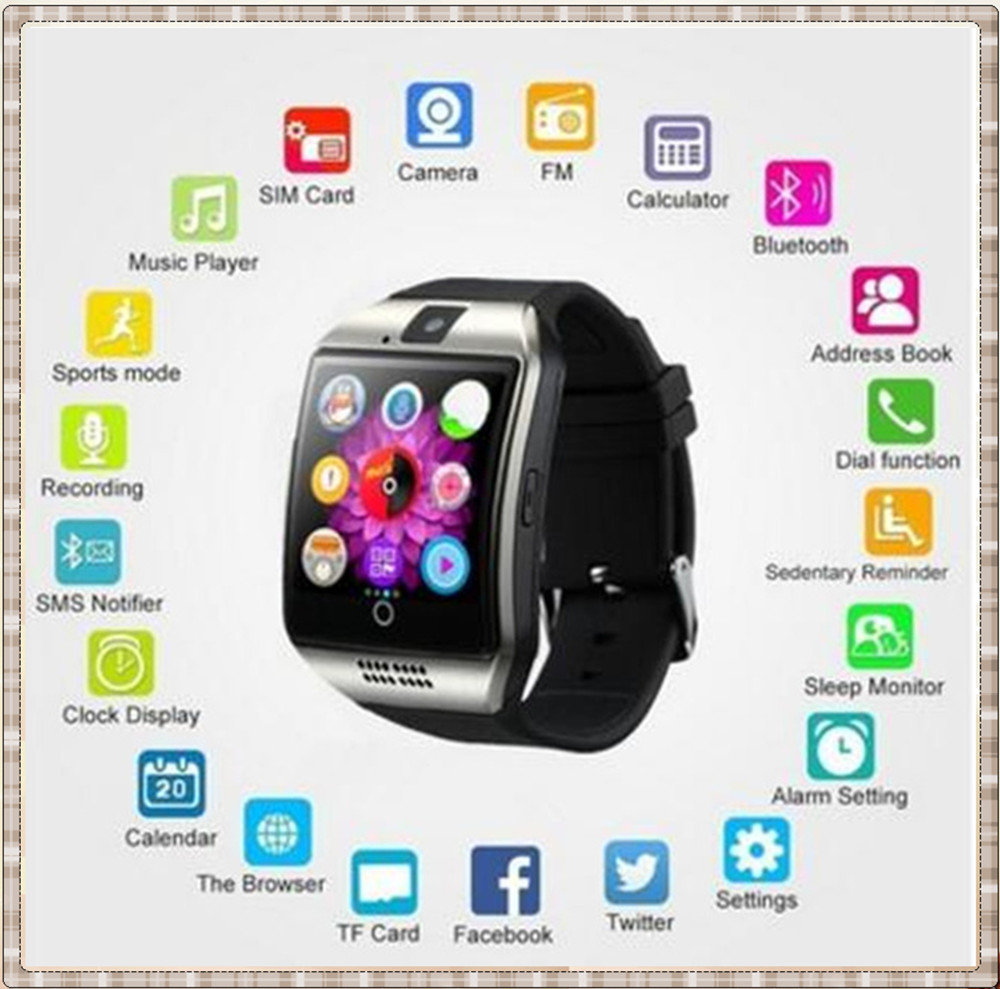 MKUYT Q18 Bluetooth Smart Watch Arc shape With Sim Card NFC Camera Sync Whatsapp Facebook for all Smartphones