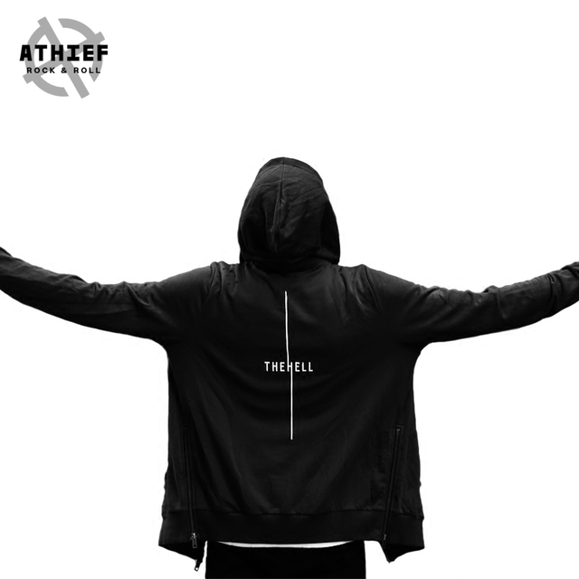 ATHIEF Men Fashion Loose Casual Hoodie Gothic style Side Zipper Handmade Holes Printed Plus Size 100% Cotton Streetwear hooded
