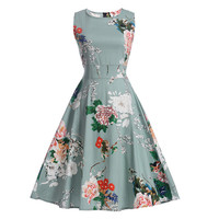 Women Summer Shirt Dress 2017 Plus Size Clothing Audrey Hepburn Floral Robe Casual 50s Vintage Rockabilly