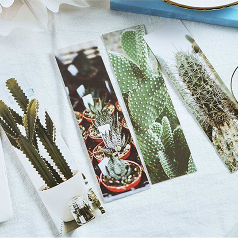 Cactaceae Paper Bookmarks, 30pcs/pack Vintage Plant Cartoon Paper Bookmarks Message Cards Student Stationery New