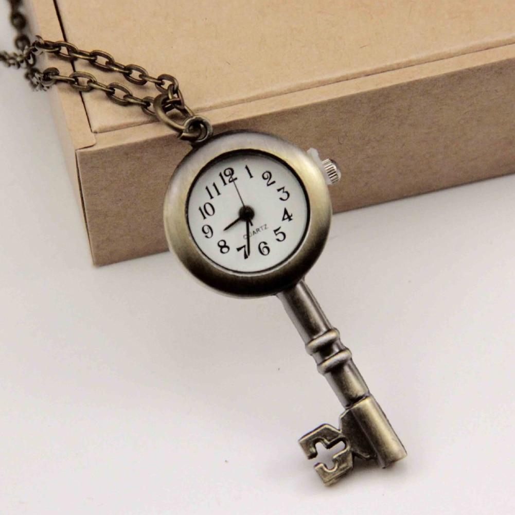 Retro Pocket Watch Necklace Classic Chinese Style Key Love Quartz Clock Women's Watches Fashion Female Gift