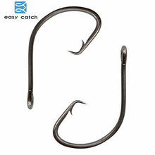 цена на Easy Catch 200pcs 7381 Black Offset Sport Circle Bait Fishing Hook Size 1 2 4 6 1/0 2/0 3/0 4/0 5/0 6/0 7/0 8/0 9/0 10/0