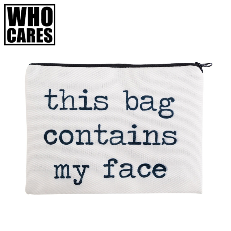 This bag contains my face 3D Printing simple makeup bag 2017 new Cosmetic case women trousse de maquillage neceser pencil case