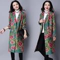 Женщины Пальто 2017 Мода отложным Воротником Однобортный Цветочные Печатный Длинные Пальто Плюс Размер Casaco Feminino Z680