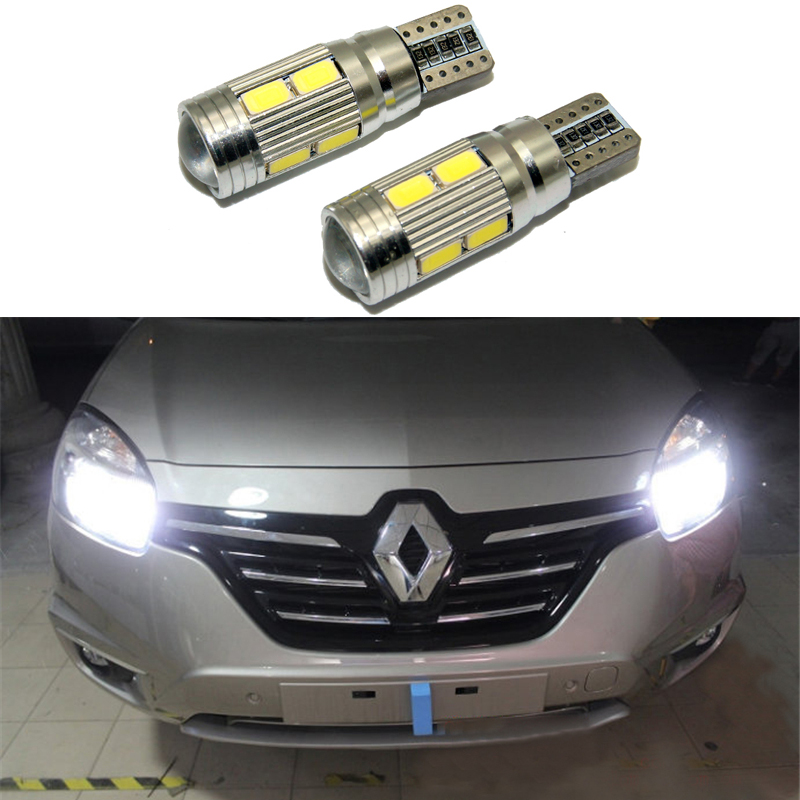 2X Led W5W T10 Canbus Car Light With Projector Lens For Renault Trafic Safrane Megane 2 Duster Logan Laguna Koleos Scala Stepway