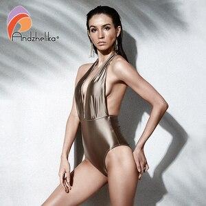 Image 2 - Andzhelika 여성 새로운 원피스 섹시한 홀터넥 수영복 브라질 빈티지 수영복 여름 바디 슈트 수영복 착용 두 가지 방법