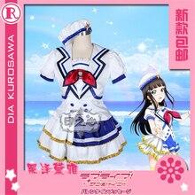 Anime Cosplay Costume Aqours Love Live Sunshine jumping heart Dia Kurosawa Coat dress  Full Sets A love live sunshine aqours anime chika you yoshiko ruby dia kanan hanamaru mari riko cheerleaders rubber keychain