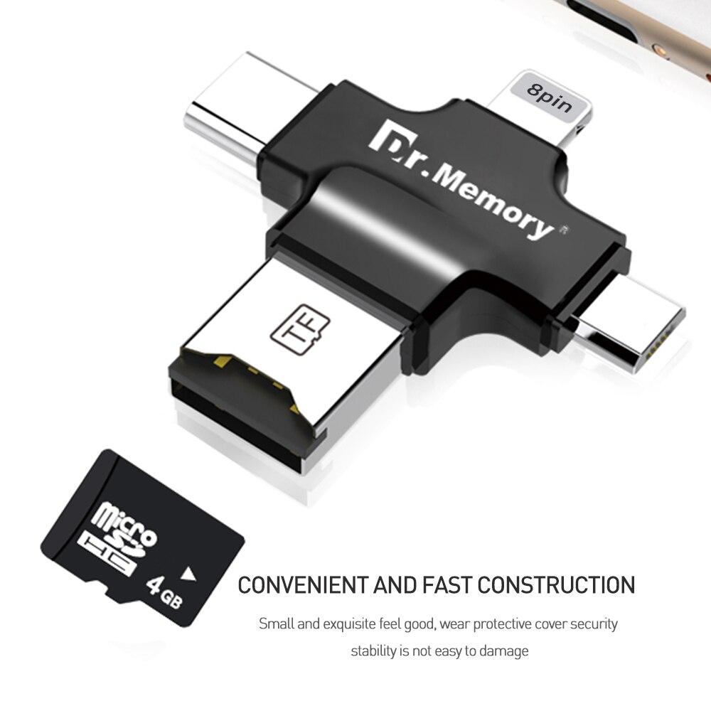 Leitor de cartão micro Sd para o iphone Da Apple 6 s 7 plus Pendrive metal Expansão OTG TYPE-C adaptador 3.0 leitor de cartão de memória USB flash drive