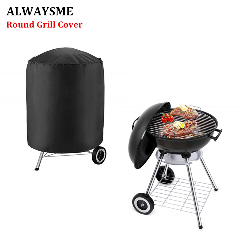 ALWAYSME Round Grill Cover Waterproof Gas Barbeque Grill Cover Heat Sealed Seams BBQ Cover For Weber Holland Jenn Air Brinkmann