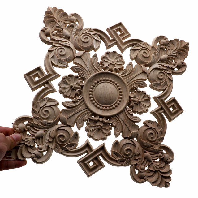 RUNBAZEF Square Unpainted Wood Carved Decal Corner Onlay Applique Frame For Home Furniture Wall Cabinet Door Decor Crafts 3