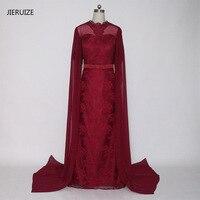 JIERUIZE Dark Red Lace Mermaid Lange Arabisch Avondjurken Hoge Hals Korte Mouwen Avondjurken Dubai Arabisch Jurken