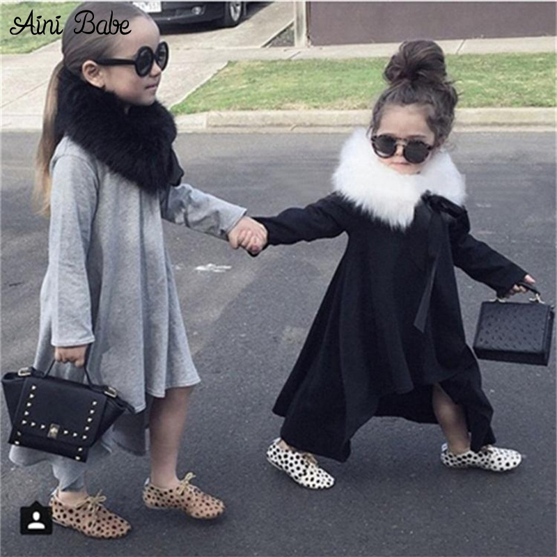 winter girl dress kids children black grey autumn&spring long sleeve cotton clothes casual baby clothing princess girls dresses 2017 autumn girl long sleeves dress fashion baby casual kids cotton dress print rainbow 3 8 year old children s clothing lh6010