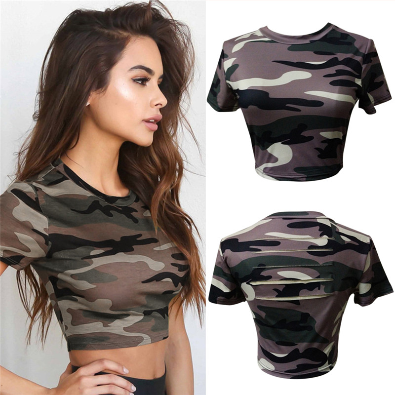 Women Camouflage Crew Neck Female Crop Tops Streetwear Shaping Sexy Hollow Out Slim Short Tee