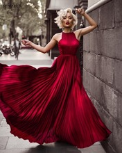 Vestido Longo Simples Wine Red Pleated Party Dress Elegant Long Dresses Evening Wear CPD113