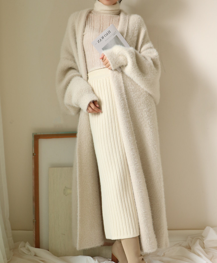 New 2019 Soft Comfy Oversized Warm Faux Mink Fur Overcoats new knitted Cardigan Sweater   trench