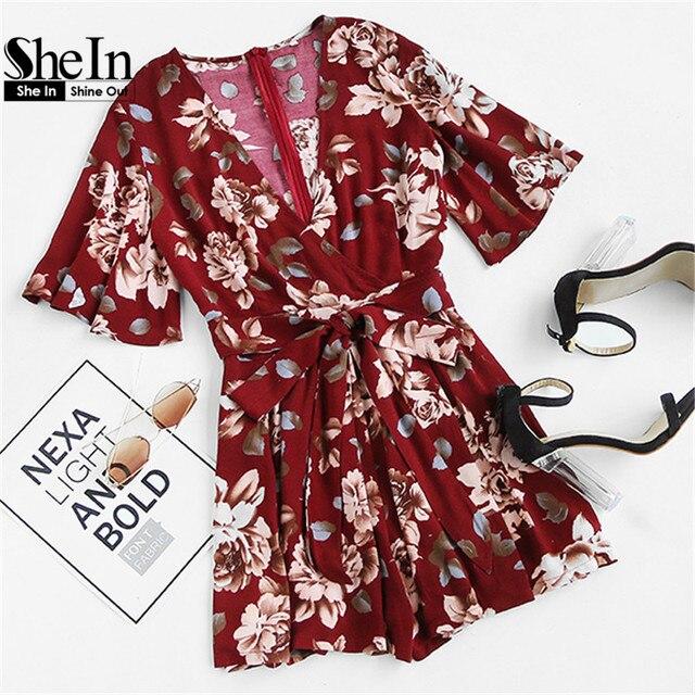 Shein шорты комбинезоны женские комбинезоны летние дамы красный sexy глубокий v шеи с коротким рукавом цветочный галстук талии случайный комбинезон