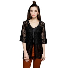 womens tops and blouses Cardigan Streetwear Ladies Plus Size Half Sleeve Lace Sheer Chiffon Sunscreen Shirts
