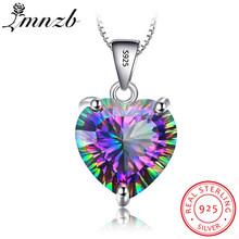 LMNZB Natural Colorful Gem Stone Pendant Necklace Fashion Rainbow Crystal 925 Solid Silver Wedding Necklaces For Women LDX0102(China)