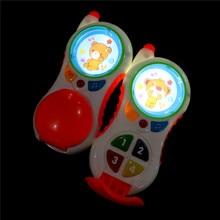 Komik bebek oyuncakları ses ve ışık ile çocuk müzik telefon öğrenme çalışma bebek telefon oyuncakları eğitici oyuncak promosyon