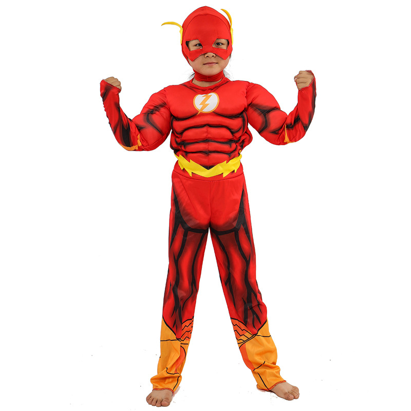 The Flash Cosplay Costume Boys Jumpsuits Superhero boy Muscle Suit Kids Halloween Christmas Costumes Childrens Party Clothes