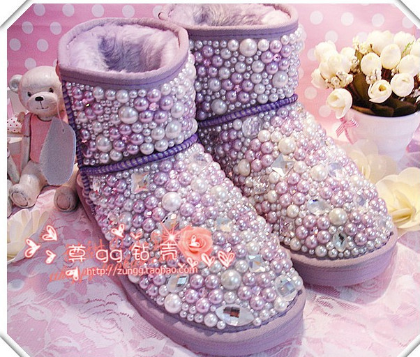 (CZ0211)Snow boots insole tube genuine leather cowhide handmade diamond big pearl pasted rhinestone small subalpine