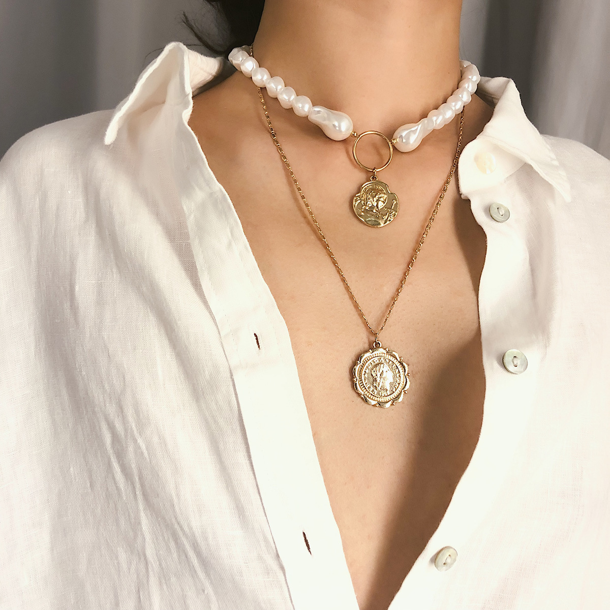 Boho Multilayer White Imitation Pearl Choker Necklace Korean Personality Carved Coin Queen Pendant Long Chain Necklace Women in Pendant Necklaces from Jewelry Accessories
