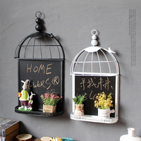 Free Shipping! Bridcage Shape Vintage Style Wall Writing Board Blackboard Wall Decoration Storage Rack Home Decoration Board